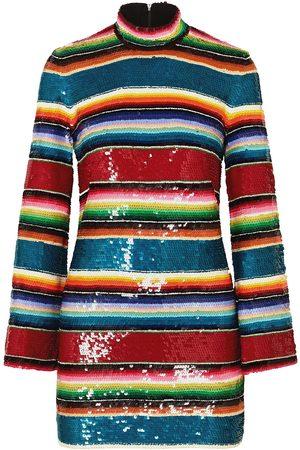 ASHISH Women Party Dresses - Woman Striped Sequined Cotton Mini Dress Size L