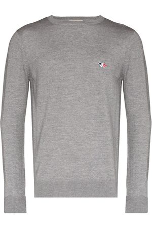 Maison Kitsuné Fox-patch crew-neck jumper - Grey