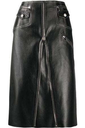 Alexander McQueen A-line biker midi skirt