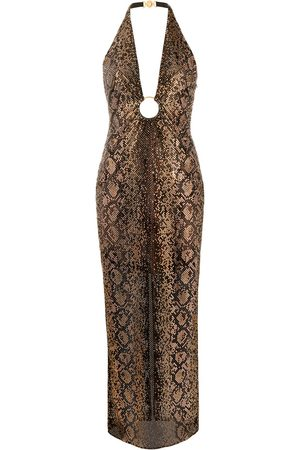 VERSACE Python-studded O-ring halterneck dress
