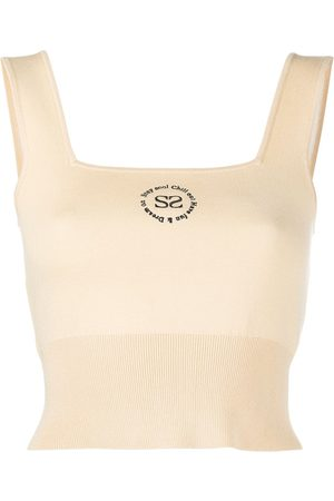 Sandro Logo embroidered cropped vest top