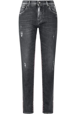 Dolce & Gabbana High-rise lace-panelled straight-leg jeans