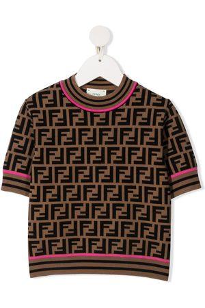 Fendi Girls Short Sleeve - FF motif short-sleeve top