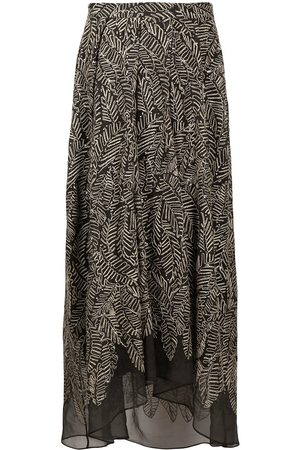 Brunello Cucinelli Semi-sheer leaf print skirt - Grey