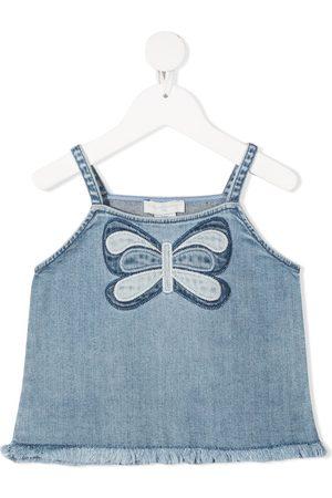 Stella McCartney Butterfly-embroidered denim top