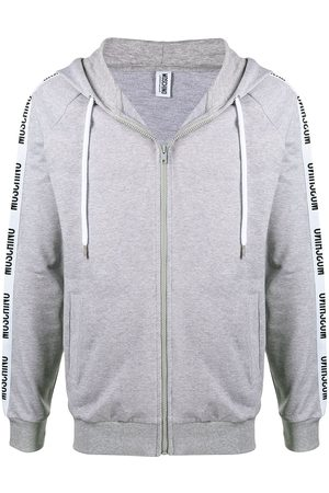 Moschino Logo trim zip hoodie - Grey