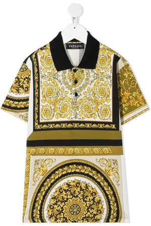 VERSACE Boys Polo Shirts - Barocco print polo shirt