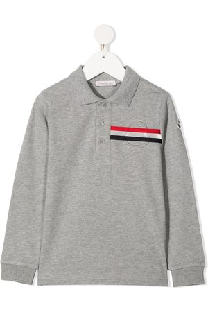Moncler Logo stripe polo shirt - Grey