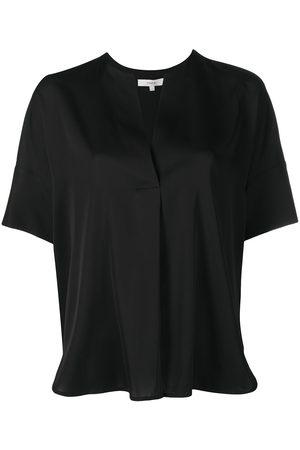 Vince Slit-detail draped silk blouse