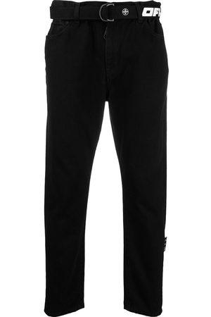 OFF-WHITE Logo-belt mid-rise jeans