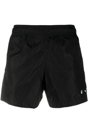 OFF-WHITE Logo-print quote-motif swim shorts