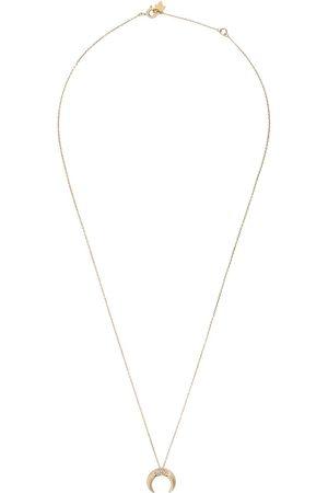 Feidt Paris 9kt yellow petite Corne Lune sapphire pendant necklace