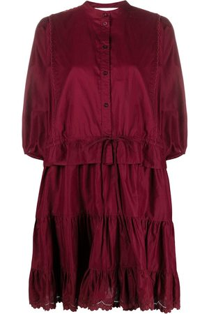 See by Chloé Tiered puff-sleeved short dress