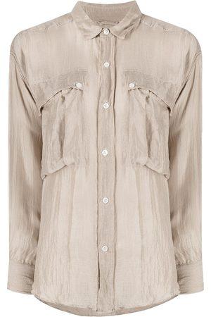 KATHARINE HAMNETT LONDON Alex silk flap-pocket shirt - Neutrals