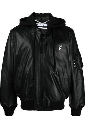 OFF-WHITE Arrow-motif leather bomber jacket