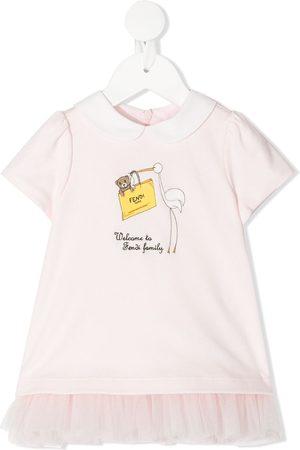 Fendi Baby Dresses - Ruffled-skirt FF-logo bear dress