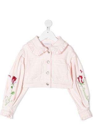 MONNALISA Girls Denim Jackets - Floral-embroidered cropped denim jacket