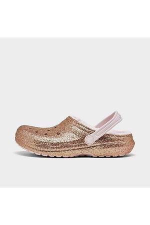 Crocs Girls Clogs - Girls' Big Kids' Glitter Lined Clog Shoes Size 5.0 Fleece