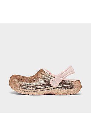 Crocs Girls Clogs - Girls' Little Kids' Glitter Lined Clog Shoes in /Metallic Size 1.0 Fleece