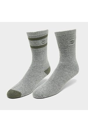 Timberland Men's Marled Striped 2-Pack Boot Socks in Grey Size Large Polyester/Acrylic/Spandex