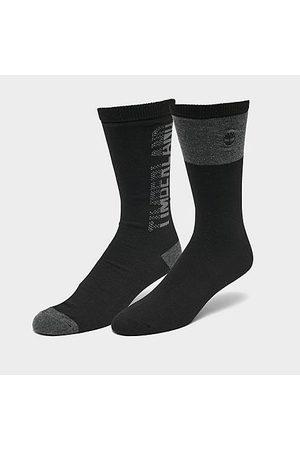 Timberland Men Socks - Men's Logo Marled 2-Pack Crew Socks in Size Large Polyester/Spandex/Knit