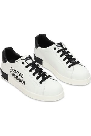 Dolce & Gabbana Logo Print Leather Lace-up Sneakers
