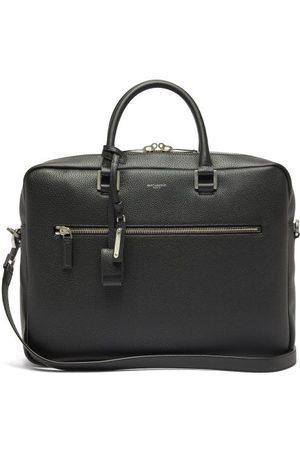 Saint Laurent Men Laptop Bags - Milo Logo-embossed Grained-leather Briefcase - Mens