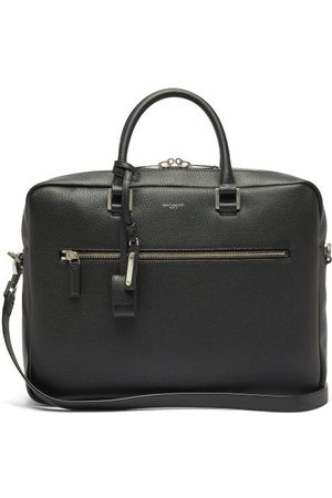 Saint Laurent Milo Logo-embossed Grained-leather Briefcase - Mens