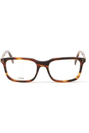 Céline Rectangular Tortoiseshell-effect Acetate Glasses - Mens - Tortoiseshell