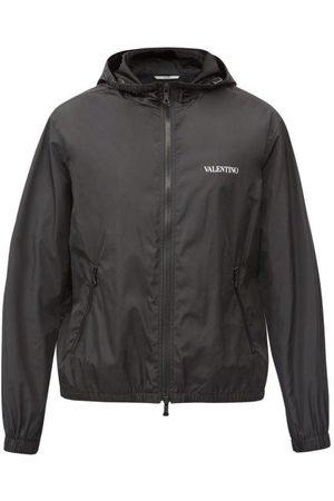 VALENTINO Men Sports Jackets - Hooded Logo-print Technical Windbreaker Jacket - Mens