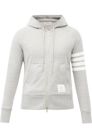 Thom Browne Four-bar Zip-through Cotton Hooded Sweatshirt - Mens - Light Grey