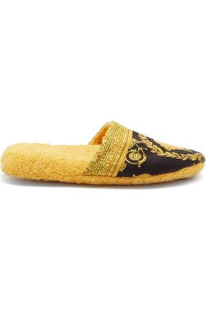 VERSACE Baroque-print Cotton-terry Slippers - Mens