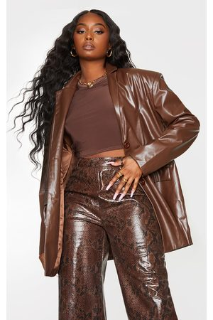 PRETTYLITTLETHING Chocolate Faux Leather Oversized Dad Blazer
