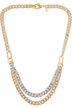 Martha Calvo Doubled Up Two Tone Curb Necklace in Metallic Gold,Metallic Silver.