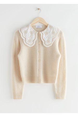 & OTHER STORIES Embroidered Statement Collar Knit Cardigan