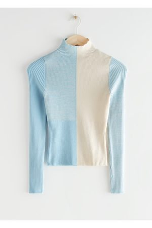 & OTHER STORIES Mock Neck Colour Block Rib Sweater