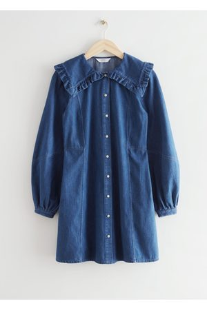 & OTHER STORIES Statement Collar Denim Mini Dress