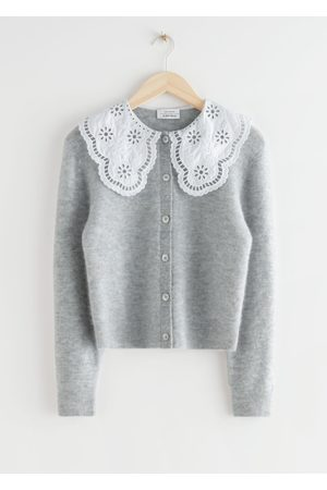 & OTHER STORIES Embroidered Statement Collar Knit Cardigan - Grey