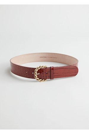 & OTHER STORIES Braid Buckle Croco Leather Belt