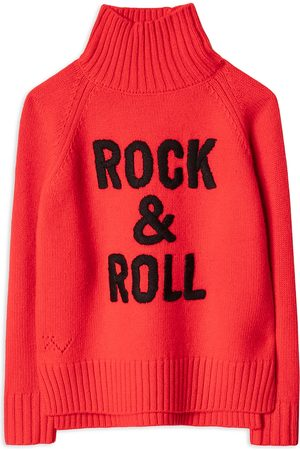 Zadig & Voltaire Girls Turtlenecks - Girls' Beth Wool Blend Graphic Turtleneck Sweater - Little Kid, Big Kid