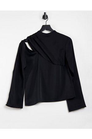Pretty Lavish Cut out high neck drape long sleeve satin top in