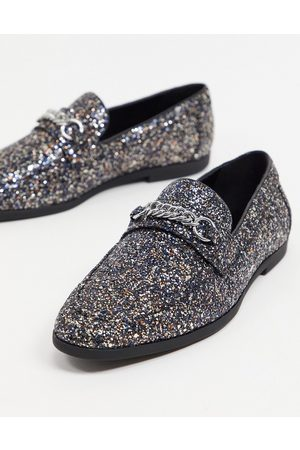 ASOS Loafers in black glitter with snaffle detail
