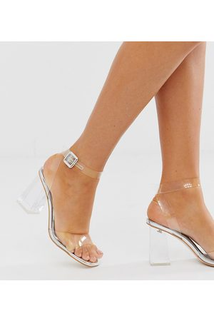 Simmi Wide Fit Simmi London Wide Fit Kehlani clear flared heel sandals