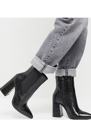 Simmi Wide Fit Simmi London Wide Fit block heel ankle boots in croc