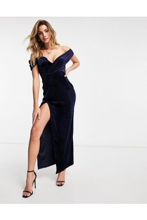 Jaded Rose Off-the-shoulder thigh slit velvet maxi dress in navy