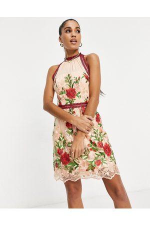 Chi Chi London High neck mini dress in rose applique-Multi