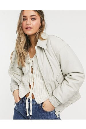 ASOS Leather look padded bomber jacket in putty-Blues