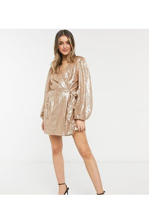 In The Style Exclusive sequin square wrap detail mini skater dress in
