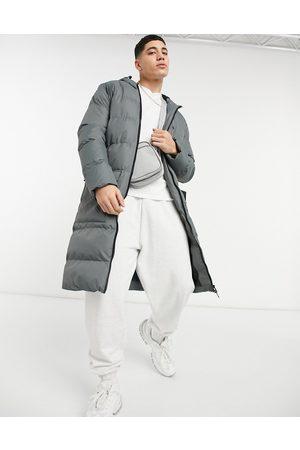 Soul Star Longline fleece lined puffer jacket in light -Grey