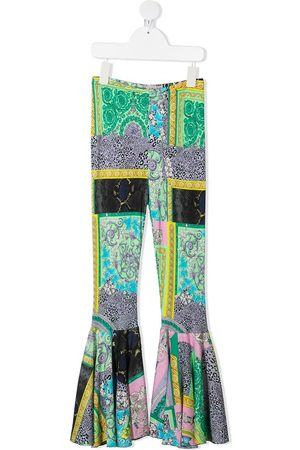 VERSACE Girls Wide Leg Pants - Barocco-print flared trousers